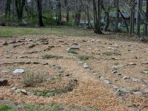 Our backyard labyrinth made from rocks and mulch.