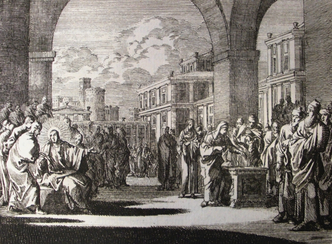 Jan Luyken's The Widow's Mite, wikimedia commons.